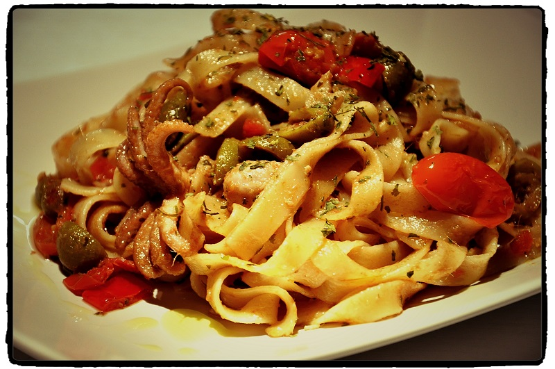chobotnice, octopus, pasta, chilli linguine, chilli, recept