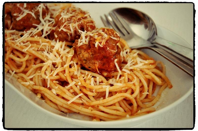 špagety, mäso, oregano, meatballs, parmezán, pasta