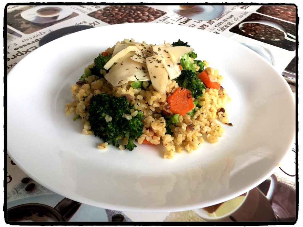 brokolica, healthy, chilli, bulgur