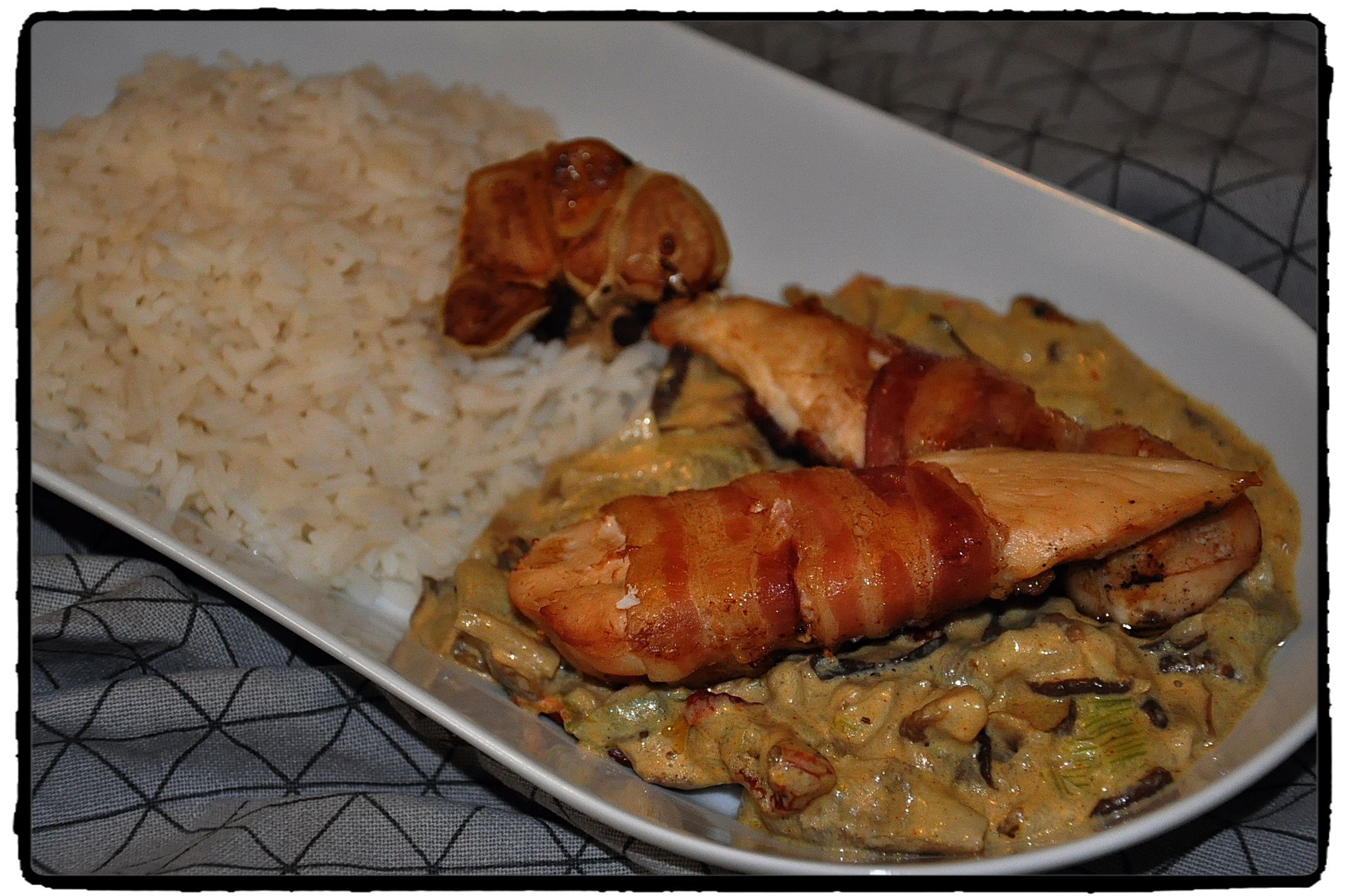 chicken, cayenne, chilli, hríby, ryža
