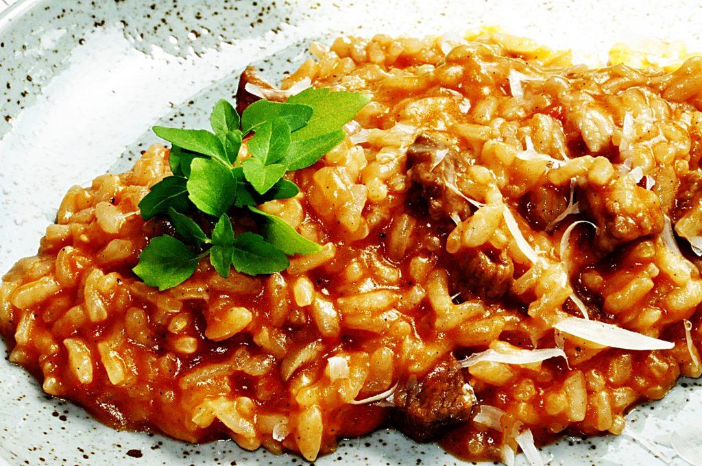 rizoto, hovädzie, mäso, parmezán, chilli, ryža
